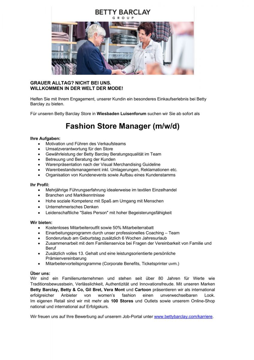 Betty Barclay sucht Fashion Store Manager